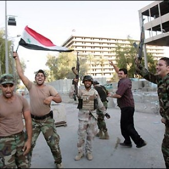 Iraqis soldiers celebrating