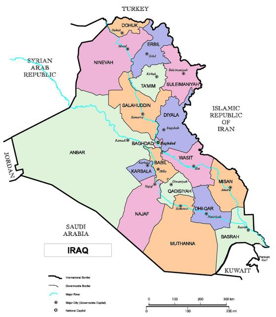 Iraq Map with 18 Provinces or Governorates