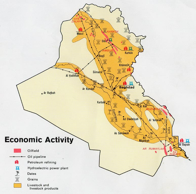 Map of Iraq Economic Activity