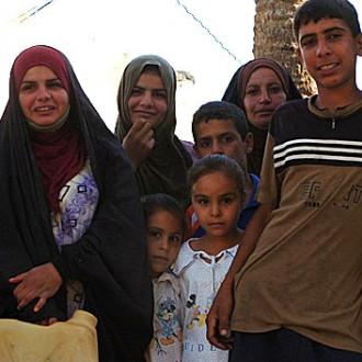 Iraqi family in a village
