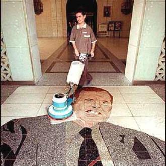 George Bush on the floor
